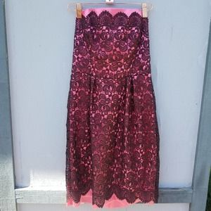 Milly   Lace Floral Strapless Pink Brown Dress 4